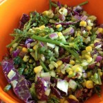 Broccoli Kale Salad with Red Cabbage and Corn.