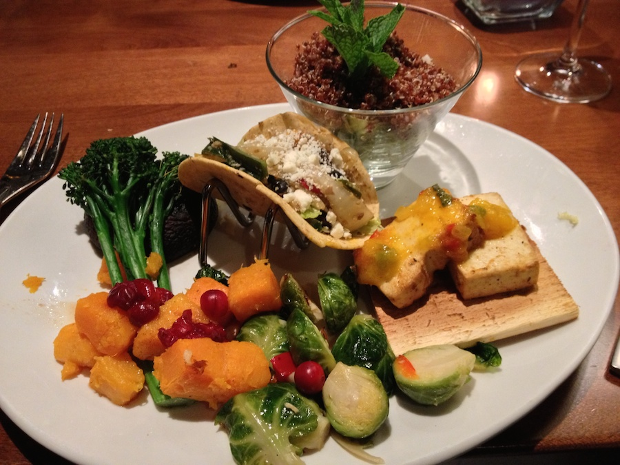 Eggplant taco, red quinoa, tofu with mango salsa, roasted Brussels sprouts and broccoli and butternut squash